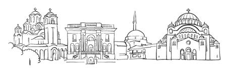 베오그라드 파노라마 스케치, 단색 도시 풍경 벡터 아트 프린트