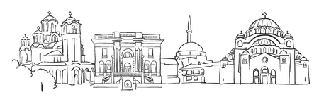 Belgrade Panorama Sketch, Monochrome Urban Cityscape Vector Artprint Ilustrace