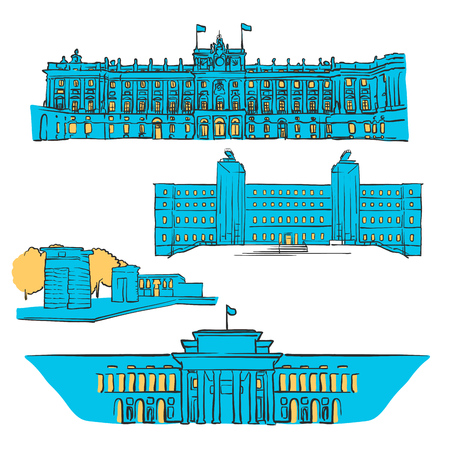 Madrid, Spain, Colored Landmarks, Scalable Vector Monuments. Filled with Blue Shape and Yellow Highlights.