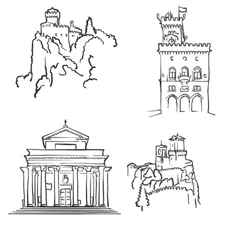 サンマリノの有名な建物、モノクロ概説旅行のランドマーク、スケーラブルなベクトル図