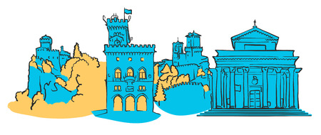 San Marino Colored Panorama, Filled with Blue Shape and Yellow Highlights. Scalable Urban Cityscape Vector Illustration