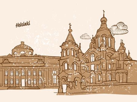 Helsinki, Finland, Greeting Card, hand drawn image, famous european capital, vintage style, vector Illustration Illustration