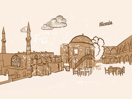 ニコシア、キプロス、グリーティング カード、手描き下ろし画像、有名なヨーロッパの首都、ビンテージ スタイルのベクトル イラスト  イラスト・ベクター素材