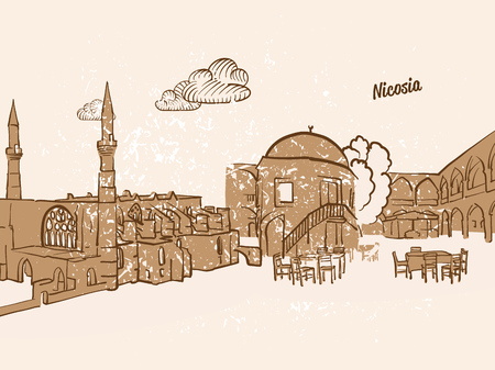 Nicosia, Cyprus, Greeting Card, hand drawn image, famous european capital, vintage style, vector Illustration
