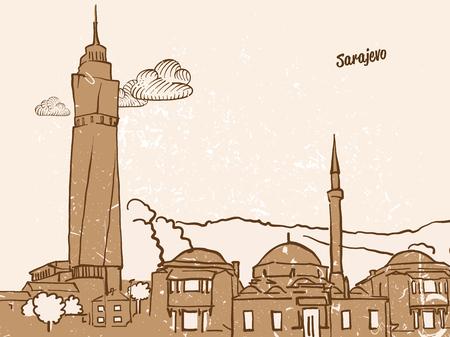 Sarajevo, Bosnia and Herzegovina, Greeting Card, hand drawn image, famous european capital, vintage style, vector Illustration Illustration