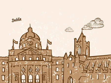 Dublin, Ireland, Greeting Card, hand drawn image, famous european capital, vintage style, vector Illustration