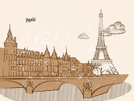 Parijs, Frankrijk, wenskaart, hand getrokken afbeelding, beroemde Europese hoofdstad, vintage stijl, vector illustratie