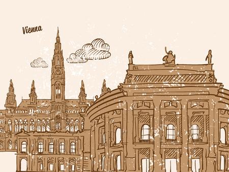 Vienna, Austria, Greeting Card, hand drawn image, famous european capital, vintage style, vector Illustration Illustration