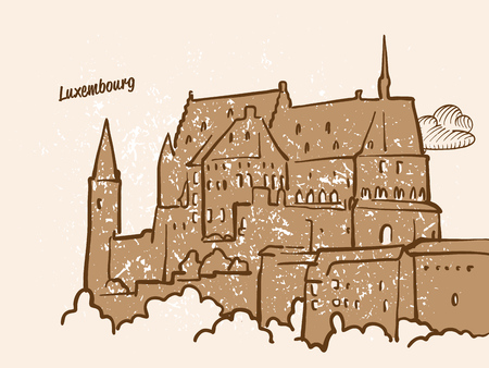 Luxembourg, Greeting Card, hand drawn image, famous european capital, vintage style, vector Illustration