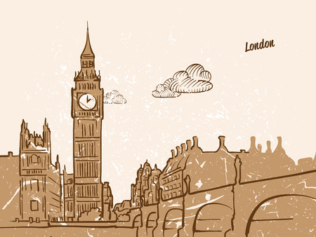 London, United Kingdom, Greeting Card, hand drawn image, famous european capital, vintage style, vector Illustration Illustration