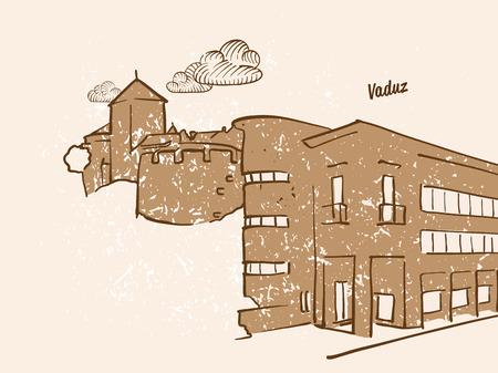 Vaduz, Liechtenstein, Greeting Card, hand drawn image, famous european capital, vintage style, vector Illustration Illustration
