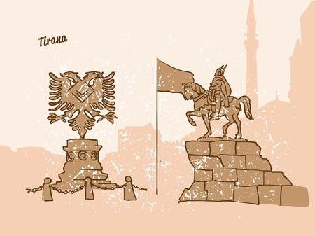 Tirana, Albania, Greeting Card, hand drawn image, famous european capital, vintage style, vector Illustration