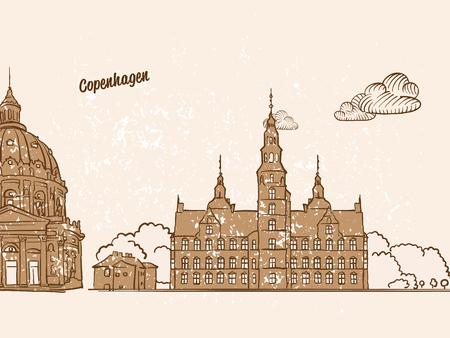 Kopenhagen, Denemarken, Wenskaart, handgetekende afbeelding, beroemde europese hoofdstad, vintage stijl, vectorillustratie Stock Illustratie