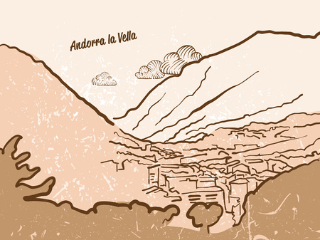 tourism in andorra: Andorra la Vella Greeting Card, hand drawn image, famous european capital, vintage style, vector Illustration