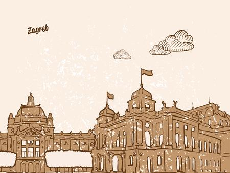 ザグレブ、クロアチア、グリーティング カード、手描画イメージ、有名なヨーロッパの首都、ヴィンテージスタイル、ベクトル イラスト