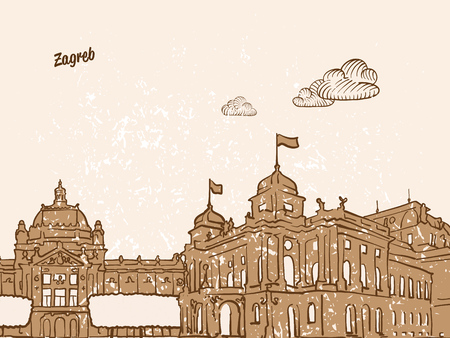 Zagreb, Croatia, Greeting Card, hand drawn image, famous european capital, vintage style, vector Illustration Ilustração