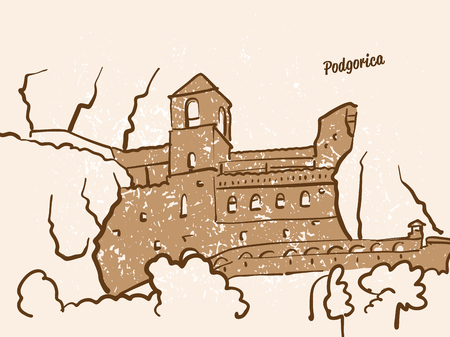 Podgorica, Montenegro, Greeting Card, hand drawn image, famous european capital, vintage style, vector Illustration Ilustracja