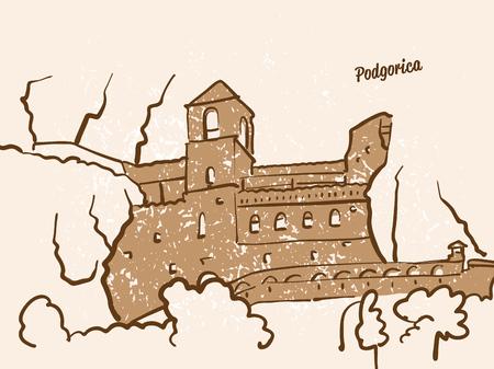 Podgorica, Montenegro, Greeting Card, hand drawn image, famous european capital, vintage style, vector Illustration Illustration