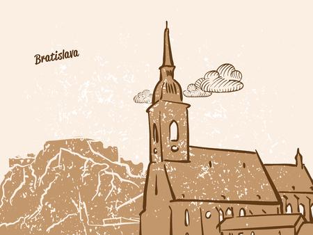 브라 티 슬라바, 슬로바키아, 인사말 카드, 손으로 그린 이미지, 유명한 유럽 수도, 빈티지 스타일, 벡터 일러스트