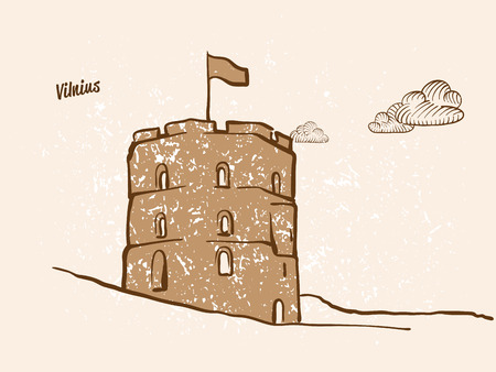 Vilnius, Lithuania, Greeting Card, hand drawn image, famous european capital, vintage style, vector Illustration