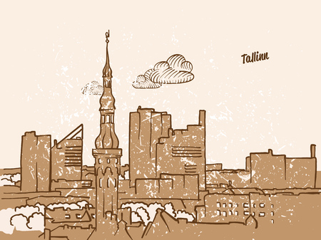 Tallinn, Estonia, Greeting Card, hand drawn image, famous european capital, vintage style, vector Illustration
