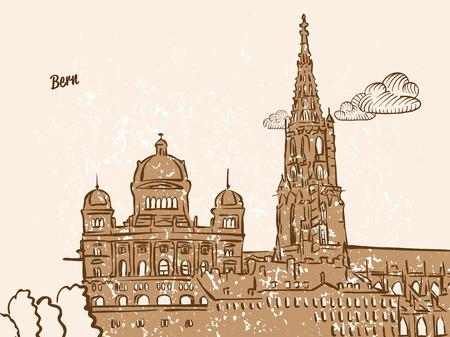 Bern, Switzerland, Greeting Card, hand drawn image, famous european capital, vintage style, vector Illustration Illustration