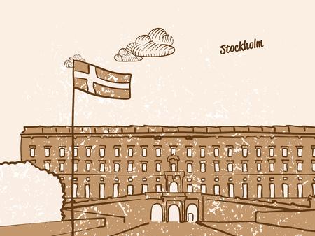 Stockholm, Sweden, Greeting Card, hand drawn image, famous european capital, vintage style, vector Illustration