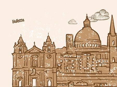 Valletta, Malta, Greeting Card, hand drawn image, famous european capital, vintage style, vector Illustration Illustration