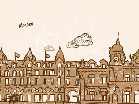 Monaco Greeting Card, hand drawn image, famous european capital, vintage style, vector Illustration