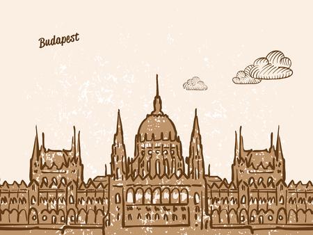부다페스트, 헝가리, 인사말 카드, 손으로 그린 이미지, 유명한 유럽 수도, 빈티지 스타일, 벡터 일러스트