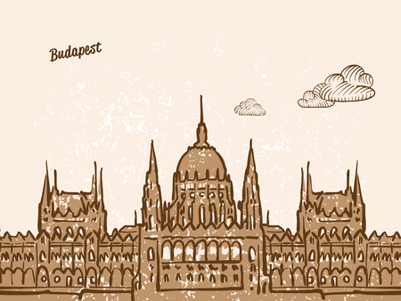 Budapest, Hungary, Greeting Card, hand drawn image, famous european capital, vintage style, vector Illustration