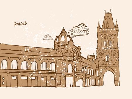 Prague, Czech Republic, Greeting Card, hand drawn image, famous european capital, vintage style, vector Illustration