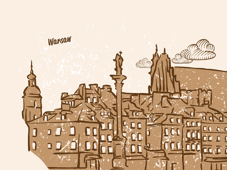 Warsaw, Poland, Greeting Card, hand drawn image, famous european capital, vintage style, vector Illustration