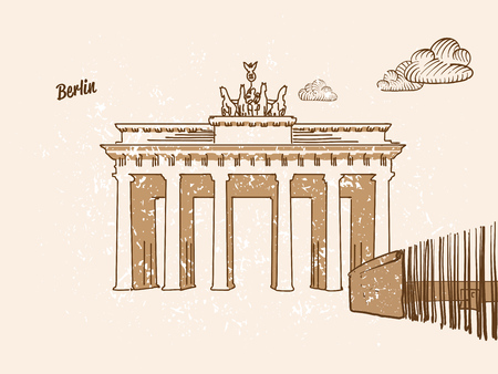 Berlin, Germany, Greeting Card, hand drawn image, famous european capital, vintage style, vector Illustration