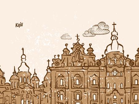 Kyiv, Ukraine, Greeting Card, hand drawn image, famous european capital, vintage style, vector Illustration