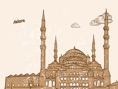 Ankara, Turkey, Greeting Card, hand drawn image, famous european capital, vintage style, vector Illustration