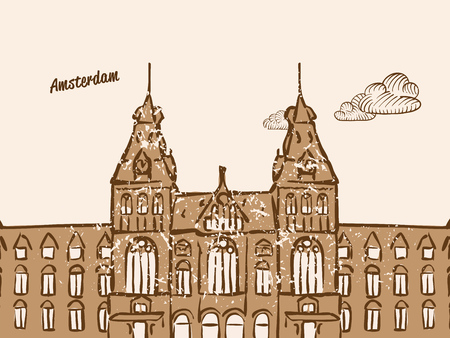 Amsterdam, Netherlands, Greeting Card, hand drawn image, famous european capital, vintage style, vector Illustration