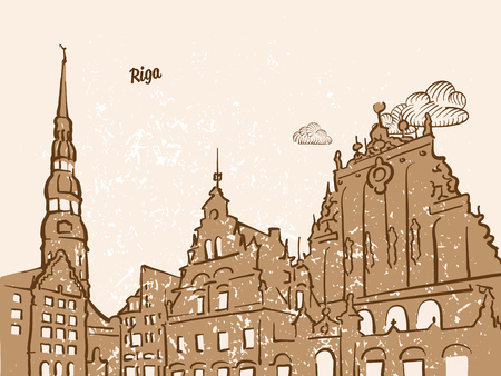 Riga, Latvia, Greeting Card, hand drawn image, famous european capital, vintage style, vector Illustration