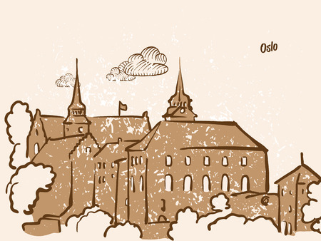 Oslo, Norway, Greeting Card, hand drawn image, famous european capital, vintage style, vector Illustration
