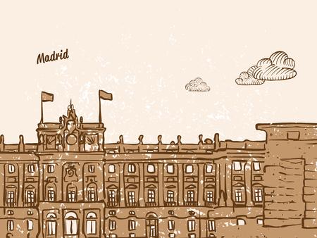 Madrid, Spain, Greeting Card, hand drawn image, famous european capital, vintage style, vector Illustration Illustration