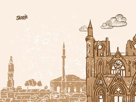 Skopje, Macedonia, Greeting Card, hand drawn image, famous european capital, vintage style, vector Illustration