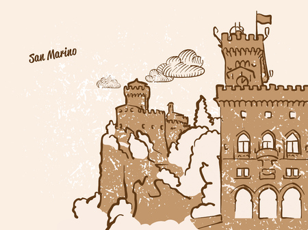 San Marino Greeting Card, hand drawn image, famous european capital, vintage style, vector Illustration