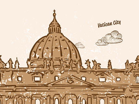 Vatican City Greeting Card, hand drawn image, famous european capital, vintage style, vector Illustration