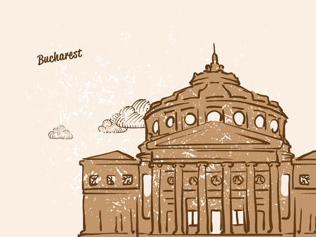 Bucharest, Romania, Greeting Card, hand drawn image, famous european capital, vintage style, vector Illustration
