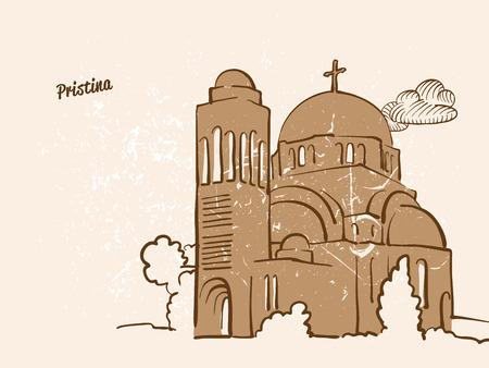 Pristina, Kosovo, Greeting Card, hand drawn image, famous european capital, vintage style, vector Illustration Illustration