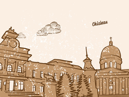 Chisinau, Moldova, Greeting Card, hand drawn image, famous european capital, vintage style, vector Illustration Illustration