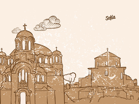 Sofia, Bulgaria, Greeting Card, hand drawn image, famous european capital, vintage style, vector Illustration