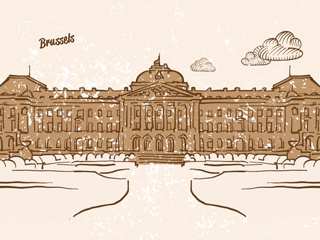 Brussels, Belgium, Greeting Card, hand drawn image, famous european capital, vintage style, vector Illustration