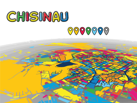 Chisinau, Moldova, Downtown 3D Vector Map of Famous Streets. Bright foreground full of colors. White Streets, Waterways and grey background areal. White Horizon.