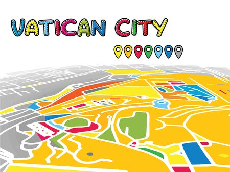 Vatican City Downtown 3D Vector Map of Famous Streets. Bright foreground full of colors. White Streets, Waterways and grey background areal. White Horizon.